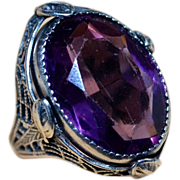 1930's Art Deco Filigree Sterling Silver Ring With Large Amethyst Glass Stone