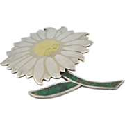 Signed Los Castillo Sterling Silver Mixed Metal Sunflower with Turquoise Inlay Pin ~ Brooch
