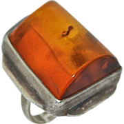 Large Natural Amber & Sterling Silver Ring Modernist