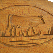 Cow Design, Hinged Wooden, Butter Print 19th C.