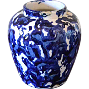 Cobalt Blue and White Spongeware Vase ,Early 1900's