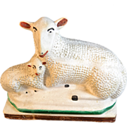 Antique Chalkware Lamb and Ewe 19th .C