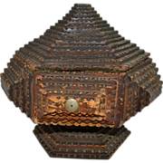Tramp Art Box, Chipcarved from a Cigar Box, Late 19th c.