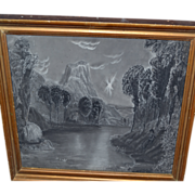 19th c. Sandpaper Painting, Hudson River School.
