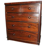 Antique American Hand Made Mahogany Chest of Drawers Ca 1840