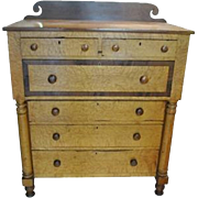 Fabulous Antique Bird's Eye Maple, Mahogany, Bonnet Chest of Drawers Ca 1860
