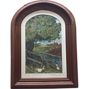 "Antique Original Watercolor, ""Country Girls"" Walnut Frame, B. Ferguson"
