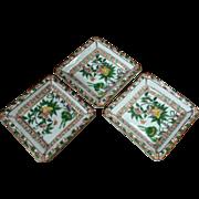 Antique Set of 3 Small Asian Trinket Dishes, Fine Japanese Porcelain