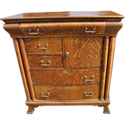 Antique Golden Tiger Oak Chest of Drawers, Paw Feet, Ca 1890