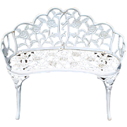 Antique White Cast Iron Garden Bench, Outdoor Settee, Bench Ca 1930s
