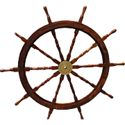 "60"" Ship's Wheel, Solid Wood, Mahogany Finish, 10 Handles"
