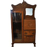 "Antique Side By Side, Curio, Secretary, Tiger Oak, 73.5""H, Circa 1890"