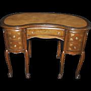"""Fine French Style Walnut Petite Leather Inlay Kidney Desk 43""""W"""