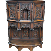 Antique American Gothic Revival Carved Wood Cupboard Karpen Furniture Ca 1900