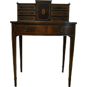 Antique Petite Mahogany Federal Hepplewhite Style Writing Desk, Secretary
