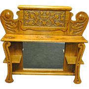 Antique Tiger Oak Carved Wall Shelf Etagere Mantle Top & Mirror Ca 1890