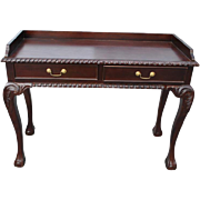 """Hand Carved Mahogany Chippendale Style Writing Desk, Console Table, 17""""D x 41""""W x .."""