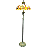 "Gorgeous Tiffany Style Stained Glass, Floor Lamp, Hand Made 65""H"