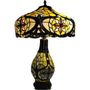 "Beautiful Tiffany Style Stained Glass Table Lamp, 27.5""H"