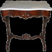 "Antique Burl Walnut Rococo Marble Top Side Table, Circa 1860, 24"" W x 28"" H"