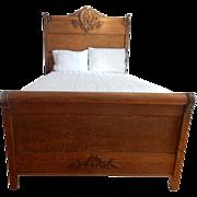 "Spectacular Antique Golden Oak Era Full Size Panel Bed 76"" H"