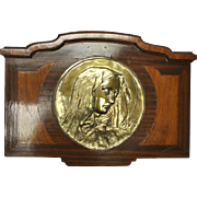 "Antique Crying Madonna Gilt Bronze Relief Sculpture, Walnut Placard , 29""W x 20""H"