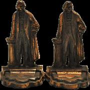 "Antique Copper George Washington Figurine Bookends 6""H"