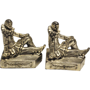 """Whimsical Pair of Antique Pierrot Clown Bookends, Silver Tone 5""""H"""