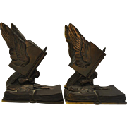 """Antique Bookends """"Thoughts on Wings"""" Jennings Brothers JB 1478 6.75""""H"""