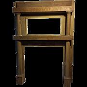 "Antique Empire Solid Tiger Oak Fireplace Mantle, 84""H, Circa 1900"