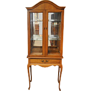 "Beautiful Petite French Style Vitrine, China Display Cabinet 68.5""H"
