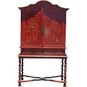 "Spectacular Red Asian Armoire on Stand, Cabinet, China Cabinet, Cupboard 81""H"