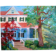 "Signed Authentic Original Acrylic Painting By Betty Laws Smith "" Welcome Home"" 23 x"