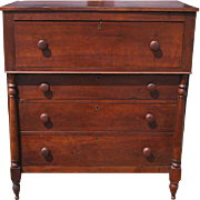"Antique American Empire Gentleman's Walnut Chest of Drawers 47""H"