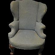Antique Historical Provenance Wingback Queen Anne Armchair, Blue