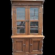 "Antique Slant Front, Step Back, Cupboard, China Cabinet, Solid Oak, 85.5""H, Circa 1890"