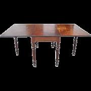 Antique Solid Plank Mahogany Swing Leg Drop Leaf Dining Table Ca 1870