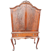 "Antique Chippendale Style Blind Door Flaming Mahogany China Cabinet, 71""H"