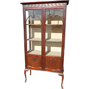 """Antique English Queen Anne Style Display Curio China Cabinet, Mahogany, 70""""H"""