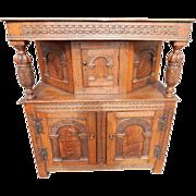 "Antique Gothic Cabinet, Cupboard Circa 1750, 45""H"