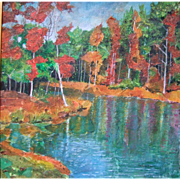 "Signed Authentic Original Acrylic Painting By Betty Laws Smith ""Toad Lake"" 17 x 17"