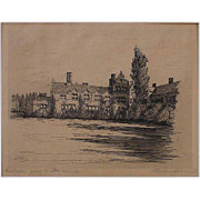 Original Antique Etching of Country House by Philadelphia artist Harry Hampshire Signed Presen
