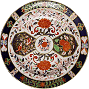Antique Royal Crown Derby Birds Chrysanthemums Pattern N°198 Dinner Plate - late 19th Century