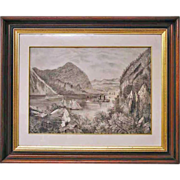 Antique Americana Primitive Schoolgirl Folk Art Drawing of River in Walnut Frame 28.5 x 23.5