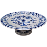 """SOLD Large 14.5"""" Meissen Blue Onion Footed Cake Plate Stand Crossed Swords Mark- c. 20th"""