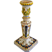 Antique Fourmaintraux-Freres Faience Candlestick  N° 348 - c. 1879 to 1887, France