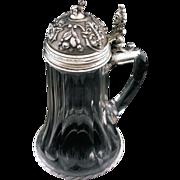 SOLD Antique Silver Lidded Dog Finial Crystal Body Tankard Stein Hallmarked - c. 1867-1922, Au