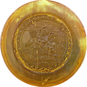 SOLD Antique Carved Horn Circular Snuff Box - c. 1820, France