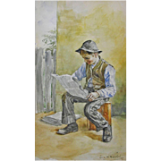 Original Antique Americana Watercolor Painting Newspaper Boy Signed By Artist Henrici - 1895,