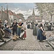 """27.5"""" Large Dutch Fish Market Color Photogravure Signed Houben - c. 1914, Austria"""